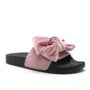Nib Velvet Soft Bow Slide Sandals Blush